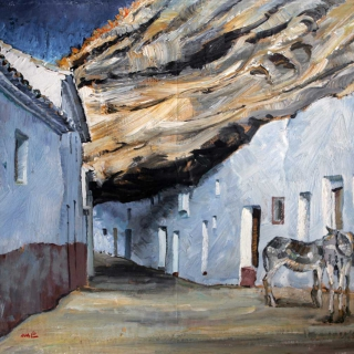 AMALIO-Cuevas-de-la-sombra-Setenil-de-las-bodegas.Cadiz-Oleo-sobre-tablex-54-x-65-cm-1