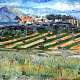 AMALIO-Pueblo-de-Laachar-Granada-Oleo-obre-tablex-54-x-65-cm-1